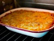 Рецепта Огретен от кайма, ориз и кашкавал с яйчена заливка